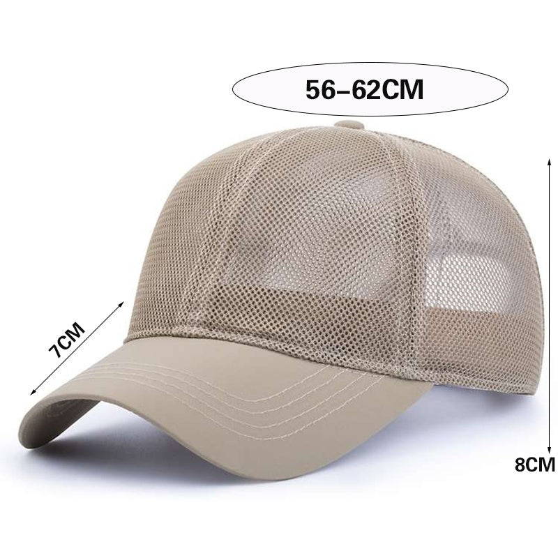 Unisex mesh cap summer quick-drying fabric breathable sunscreen men outdoor riding sports mountaineering baseball cap adjustable snapback hats fashion accessories