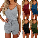 Women Fashion Jumpsuits Rompers Summer Casual Slim Fit Drawstring Waist One Piece Suits Sexy Sleeveless Bodycon Playsuit Outfits Set Ladies Short Rompers Bodysuits for Beachwear