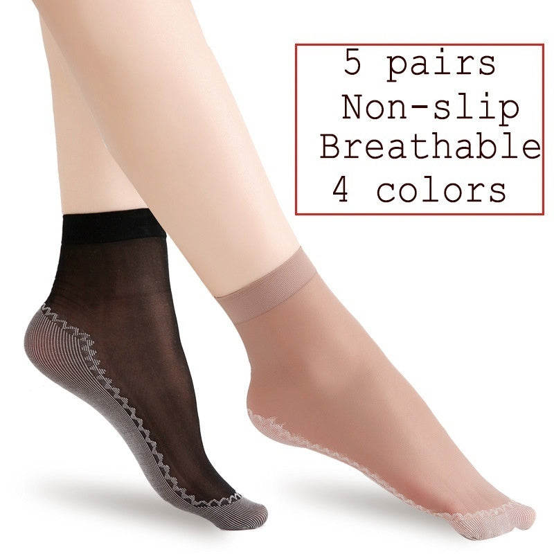 5-pairs Ultrathin Women Transparent Beautiful Lace Elastic Short Socks Non-slip Socks