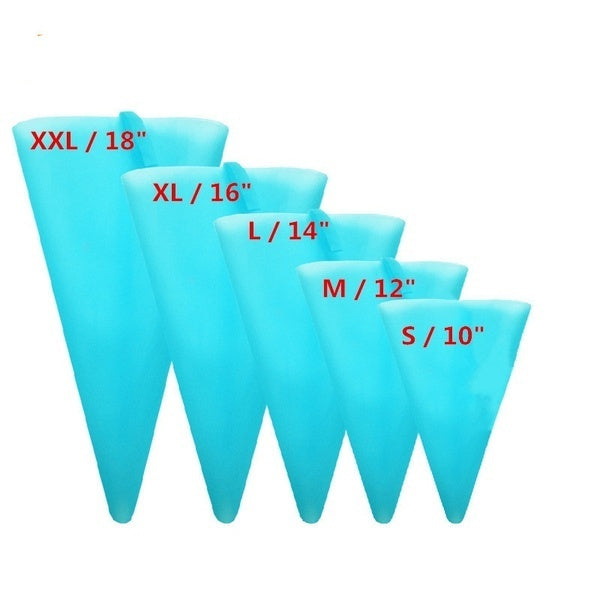 Reusable Silicone Pastry Bag Icing Piping Bags Cream Cake Bake Decorate 5 size can be choose