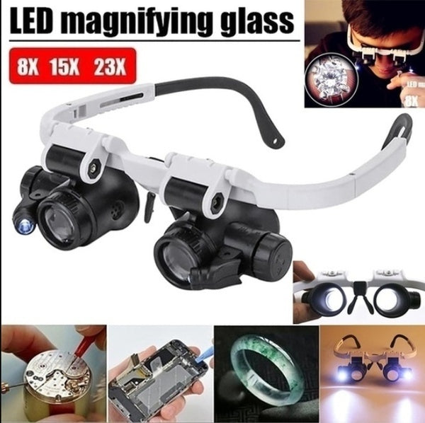 Upgrade 8x 15x 23x Double Eye Loupe Head Wearing Led Magnifier Jewelry Repair Jewelryloupe Head-Mounted Repair Jeweler Watch Clock Magnifier Illuminated Magnifying Glass with LED Light for Jewellery/Watch/Clock Repair