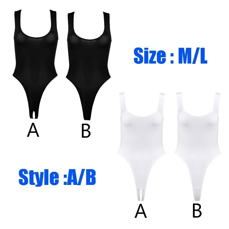 Womens Lingerie Thong Bodysuit Stretch Sleeveless High Cut Thong Leotard Bodysuit Underwear with Open Crotch