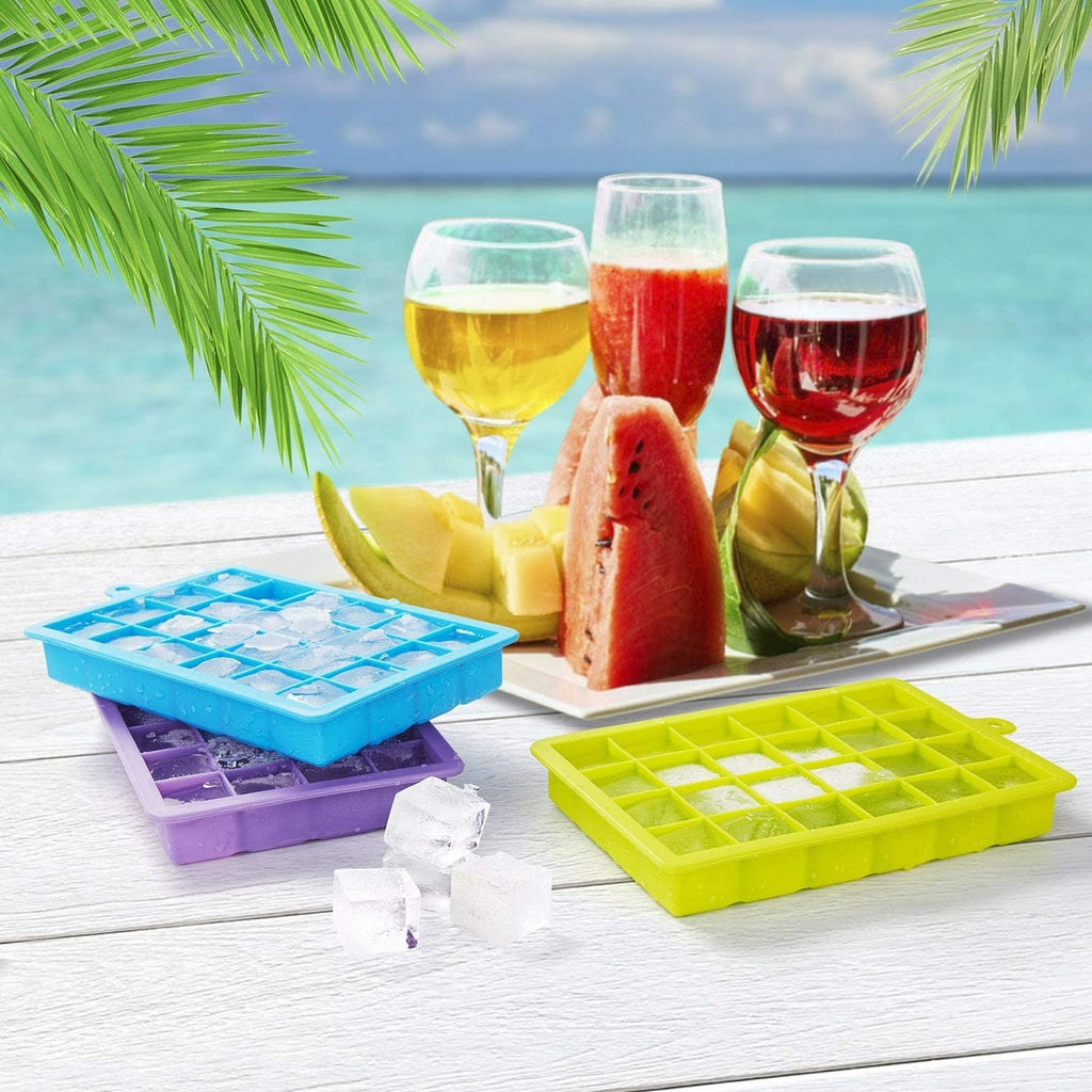 Ice Cube Trays, 3 Pack Silicone Ice Tray with Lid, Easy-Release and Flexible Ice Cube Molds, LFGB Certified and BPA Free, 24 Cubes