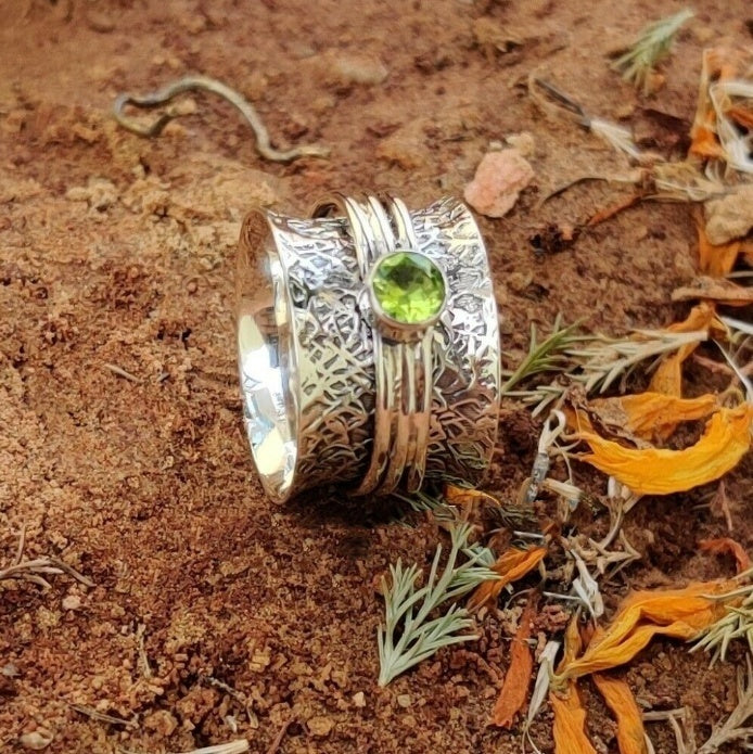 Fashion Jewelry Vintage Olivine Solid 925 Sterling Silver Handmade Ring Spinner Women's Wedding Ring