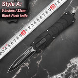 Newly Portable Multi-function Knives Set | Card Knife + 9 Inches Push Knife + Small Hand Stab Knives Set Quick Jump Spring Switch Auxiliary Straight Out Dagger Automatic OTF Knife Arrow Double Blade Outdoor Camping Hunting Tactical Knife