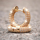 Gorgeous Fully Lced 925 Silver In 14K Gold Filled Small Round Diamond Huggie Hoop Earrings Wedding Engagement Fashion Earings For Women Men Unisex