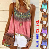 Fashion Women Summer Casual Tank Tops Loose Beach Blouse Sleeveless Printed Cotton Beach T-shirt Boho Style Shirts Plus Size Camisole