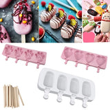 4/8 Cells Silicone Ice Cream Molds,Oval Heart-shaped Footprint-shaped Ice Pop Maker with Popsicle Stick