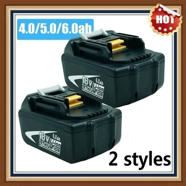 Home, work, HOT 2.0-6.0Ah 1PCS 2.0-6.0Ah for Makita 18V battery with LED indicator lithium-ion rechargeable alternative BL1850 BL1830 BL1860 LXT400 cordless drill