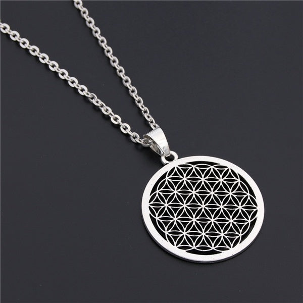 1PC Flower of Life Buddhist Necklace Long Chain Seed of Life Sacred Geometry Jewelry Fleur De Vie Yoga Namaste Necklace