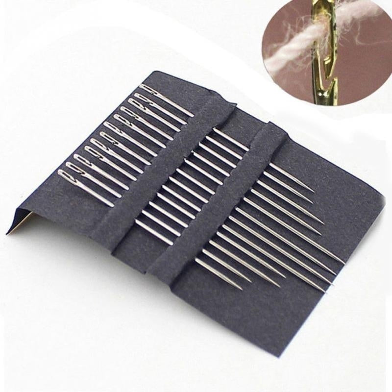 12pcs/set Sewing Needles Multi-size Side Opening Stainless Steel Darning Sewing Household Hand Tools