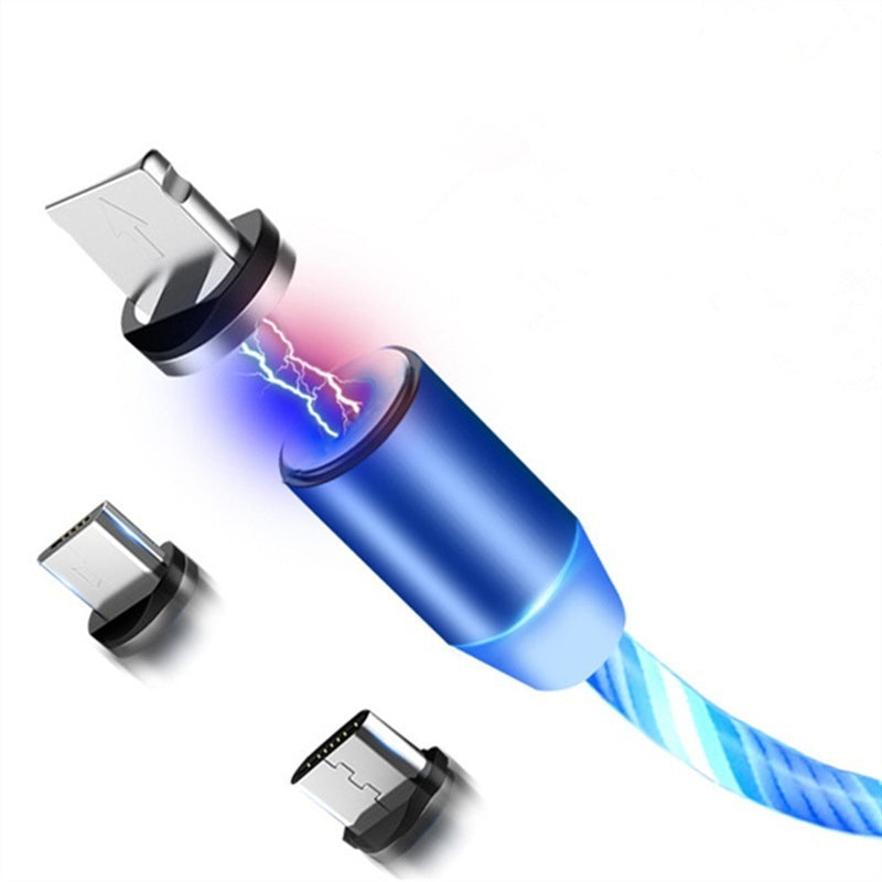 Led Light USB Charger Cable 1 In 3 Fast Charging for Lightning Type C Micro Android for IPhone IPad 1 Interface 3