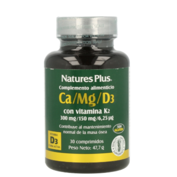 Ca/Mg/D3 + K2 - 30 Comprimidos. Nature's Plus