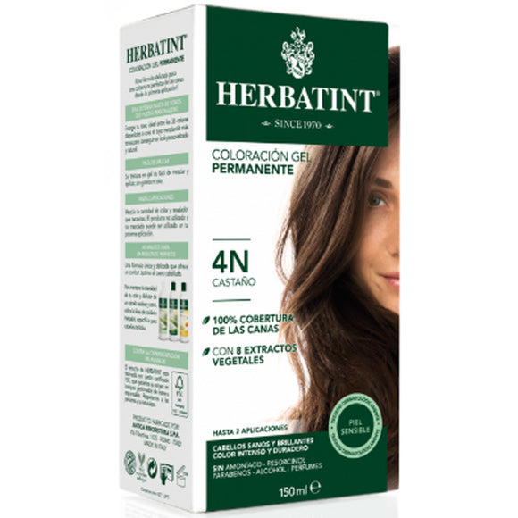 Coloración Gel Permanente. Castaño 4N - 150 ml. Herbatint
