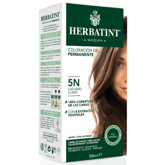 Coloración Gel Permanente. Castaño Claro 5N - 150 ml. Herbatint