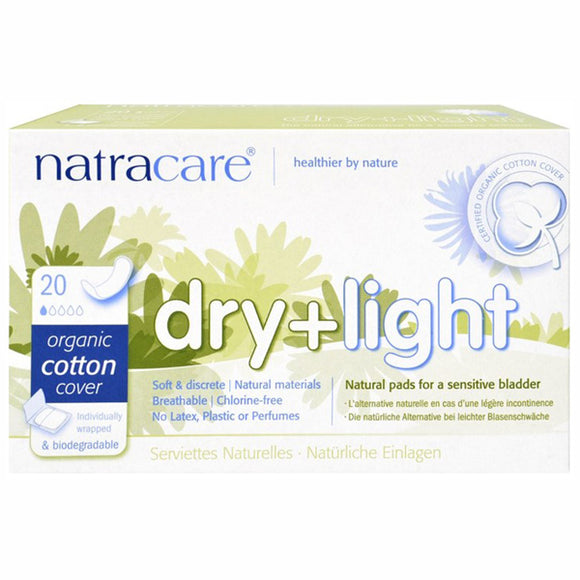 Compresas Incontinencia Dry+Light - 20 Unidades. Natracare