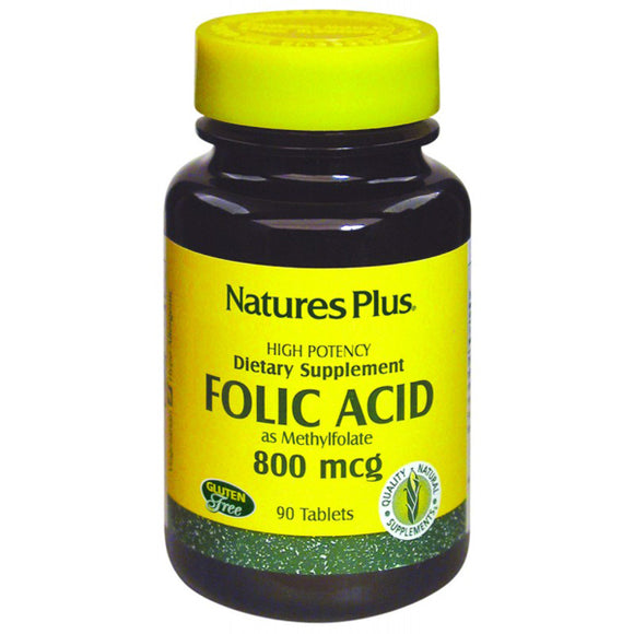 Folic Acid 800 mcg - 90 Comprimidos. Natures Plus
