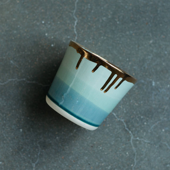 Ceramic Tumbler in Ocean, with 22K Gold
