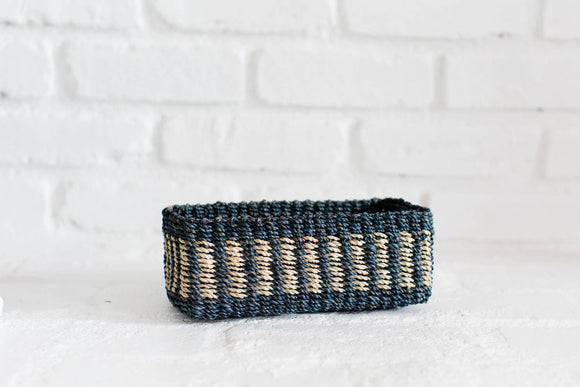 Black and natural woven all purpose rectangle basket