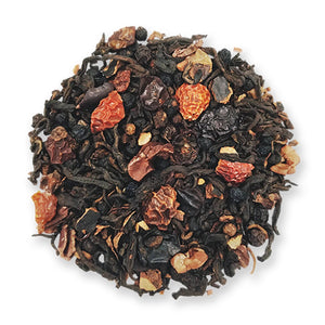 Organic Black wolf loose leaf tea made by Jasmine Pearl Tea Company Ripe (Shou) Chinese Puerh Tea*, Carob*, Cacao Nibs*, Elderberry, Rosehips, Honeybush, Peppercorns