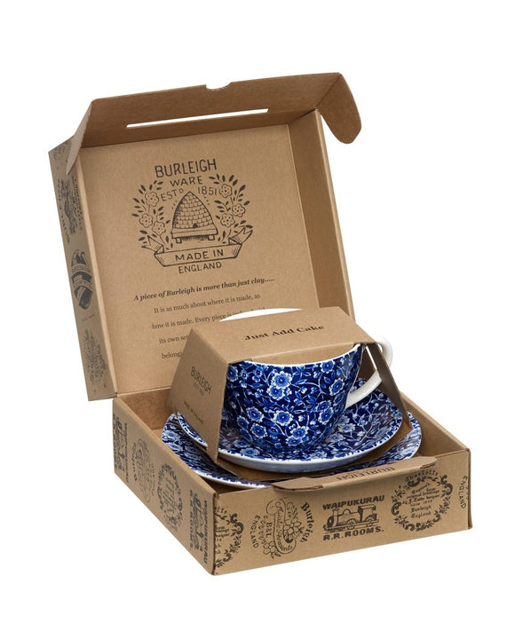 Blue Calico Breakfast Cup - 3 Piece Set
