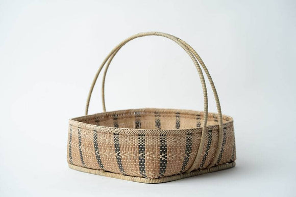 Natural Basket with black pattern and double woven handle