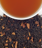 Hot cinnamon spice loose leaf tea and brewed cup