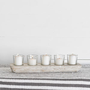 Distressed White Tray with 5 Glass Votives
