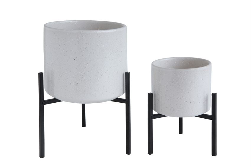 White Flower Pot with Metal Stand