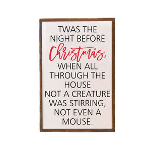 Handmade Twas The Night Before Christmas Sign