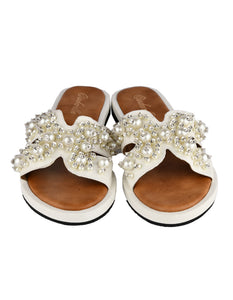 Jewel Embellished White Slides