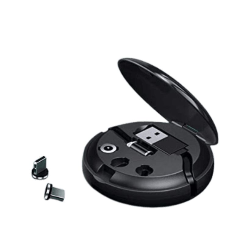 Retractable Portable 3 plug magnetic cable Black Charger.