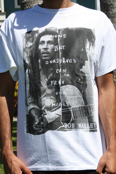 "NEW! ""None but ourselves can free our minds"" Bob Marley Tee"