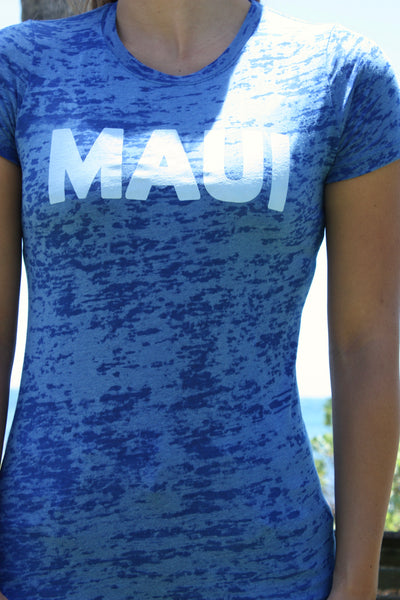 "Women's Blue Burnout ""MAUI"" Tee"