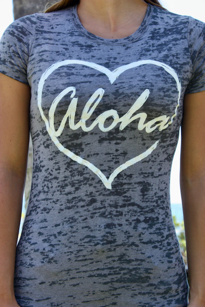 "Women's Grey Burnout ""Aloha ♡"" Tee"