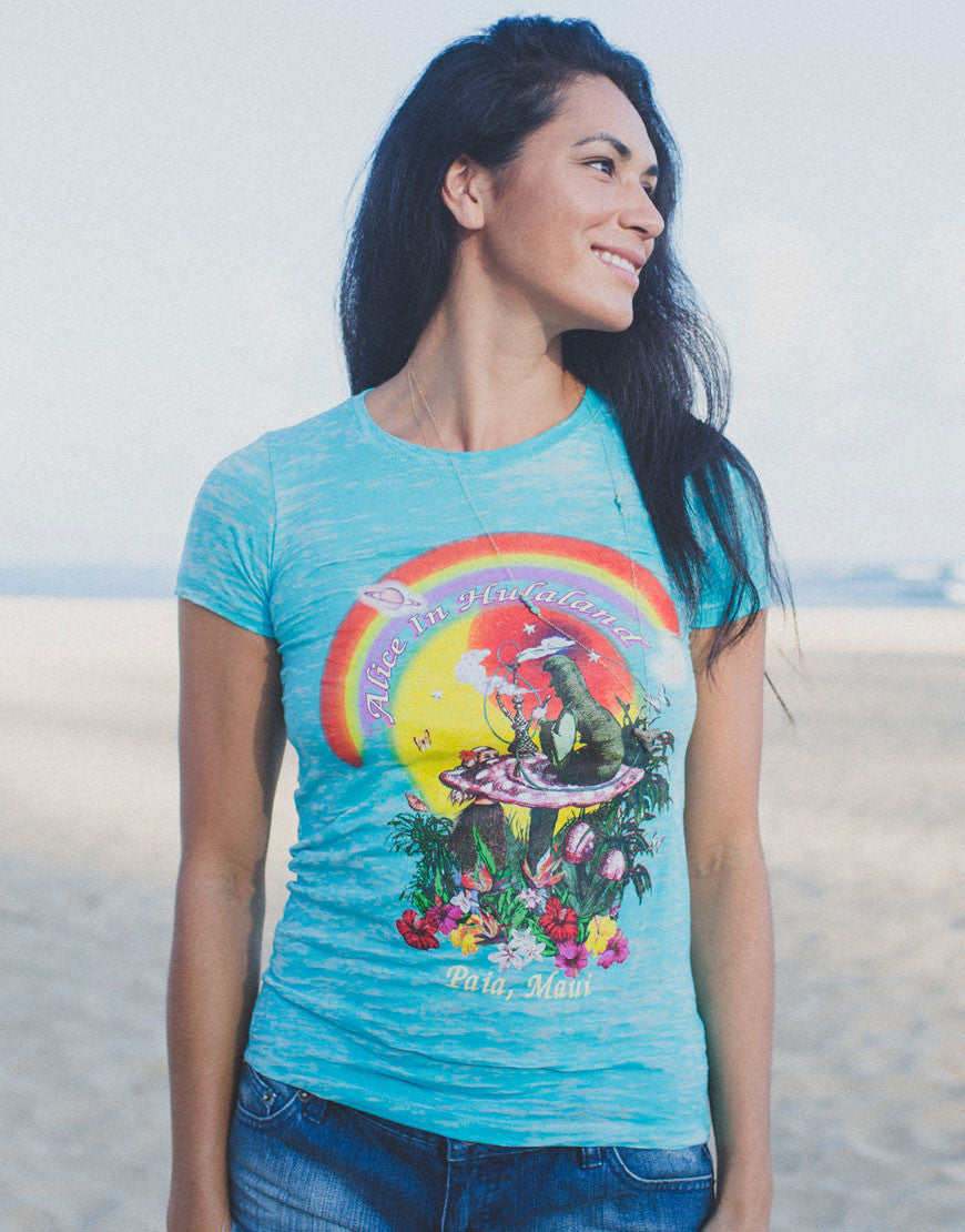 "Women's Turquoise Burnout ""Trip"" Tee"