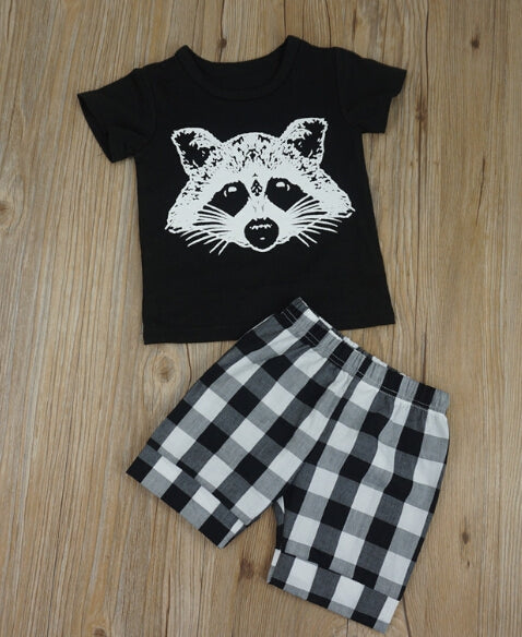New Baby Kid fox head plaid striped short sleeved shorts suit outfits