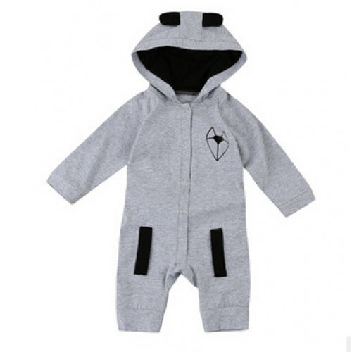 Newborn Kids Baby Boys Cotton Romper Jumpsuit Bodysuit Hooded Clothes Outfit UK