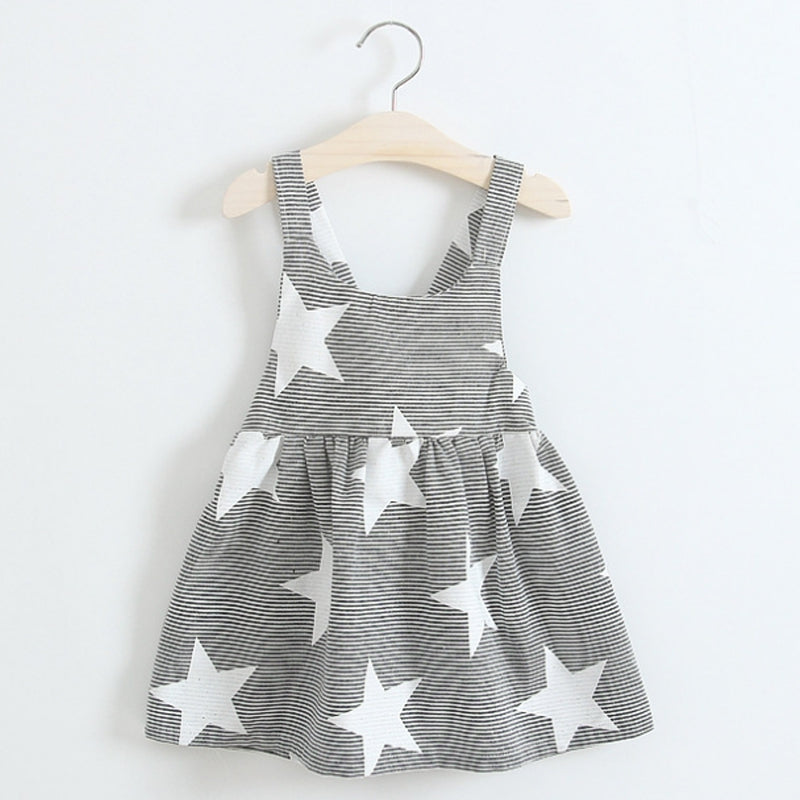 Toddler Kids Girls Summer Dress Black and white Stripes Star Dress Party UK