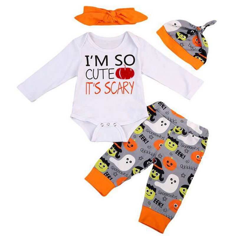 Newborn Baby Boys Girls Pumpkin Halloween Outfit Romper Clothes