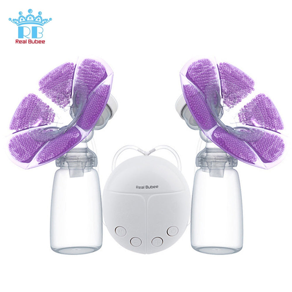 RealBubee RBX - 8023S - 2 Double Electric Intelligent Breast Pump with Milk Bottle Cold Heat Pad