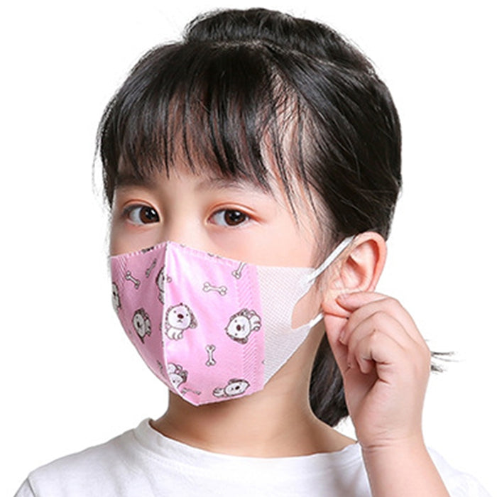 Disposable Cute Cartoon Printing Mask Four-Layer Dust-Proof Waterproof Protective Mask for Kids 5pcs