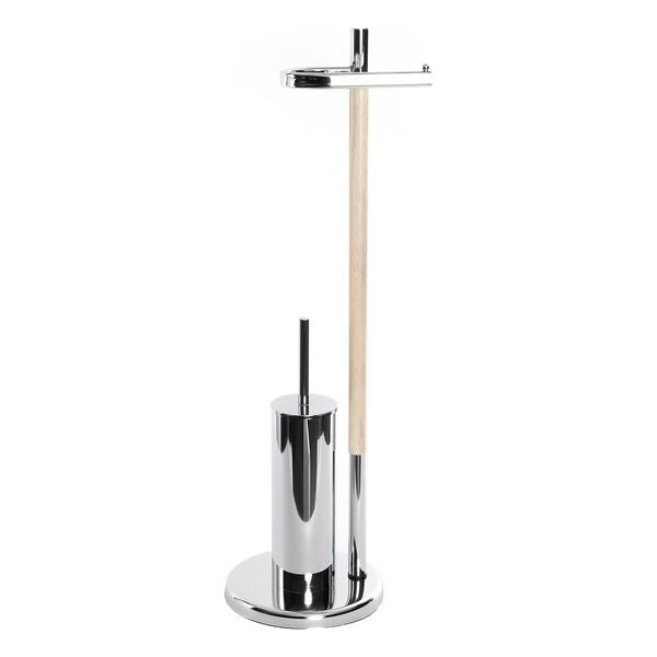 Toilet Paper Holder with Brush Stand Dekodonia Wood Metal (22 x 22 x 78 cm)