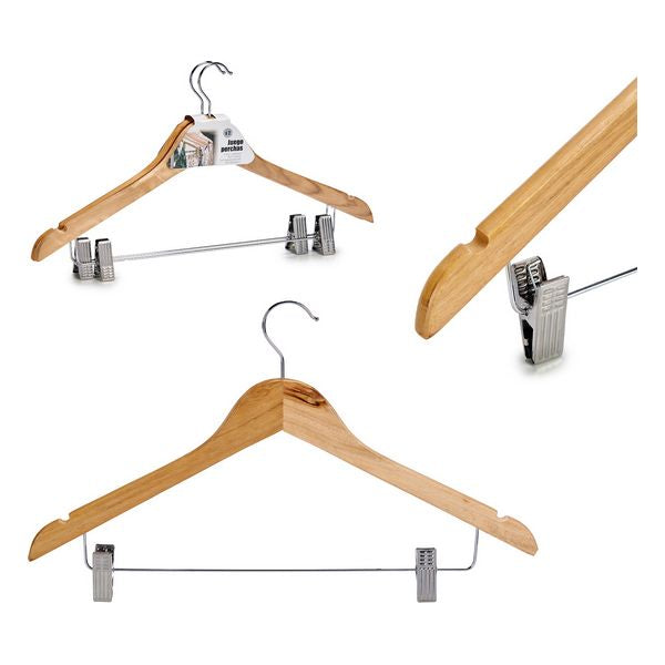 Set of Clothes Hangers Wood Metal (2 Pieces) (3 x 24,5 x 44,5 cm)