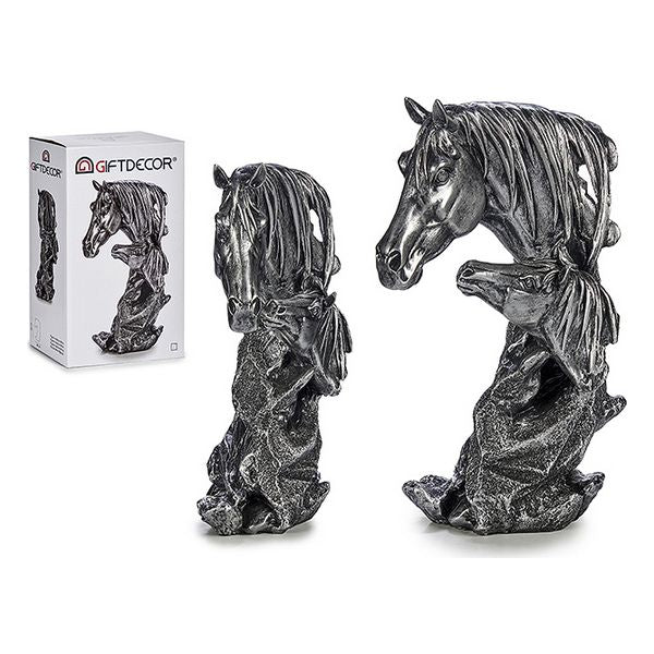 Horses Silver Resin Silver (10 x 33 x 20 cm)