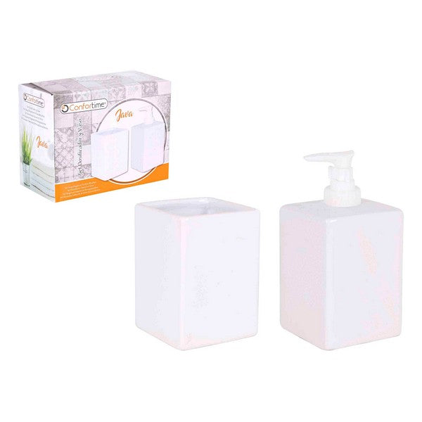 Bath Set Java Confortime White Squared (2 Pcs)