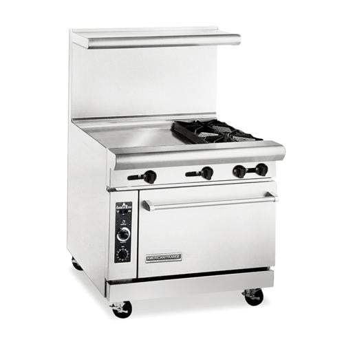 "American Range 36"" 2-Burner Gas Range W/ Griddle Ar24G-2B 