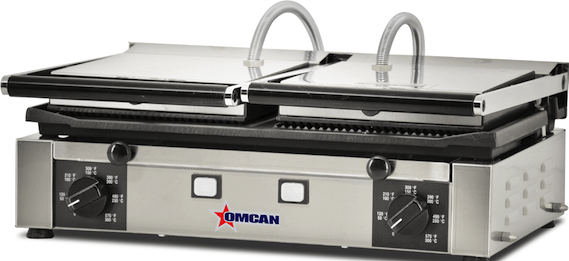 "Omcan PG-IT-0737 - 19"" x 10"" Double Panini Grill - Grooved Top, Mixed Bottom"