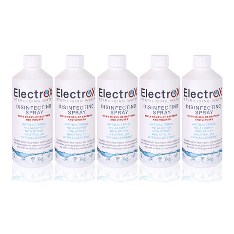 5 x 500ml  refill bottles of Electrox Sterilising Water.  Great for refilling smaller Electrox spray bottles or mini foggers. Use ELectrox to help keep your home or workplace healthier and sanitised.