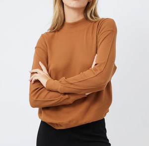 Thermal Mock Neck Seamed Sweatshirt